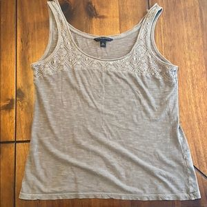 Sage green tank top with lace detail